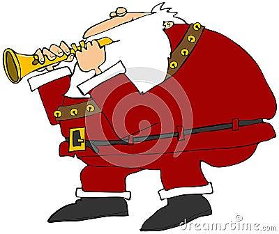 Santa playing a flute