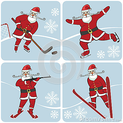 Santa playing winter sports.Skating,skiing,hockey,