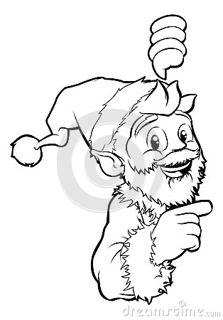 Santa pointing Christmas illustration