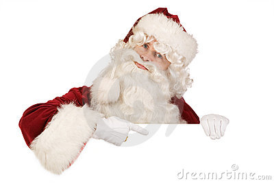 Santa pointing to blank board