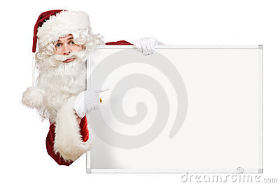 Santa pointing to blank board