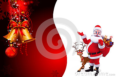Santa pointing towards background with a gift bag