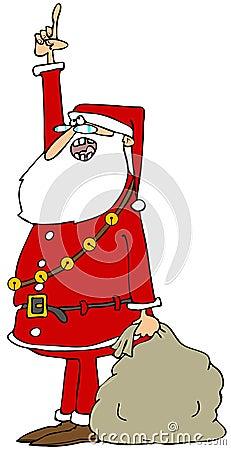 Santa pointing up