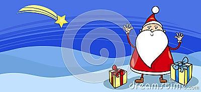 Santa with presents greeting card