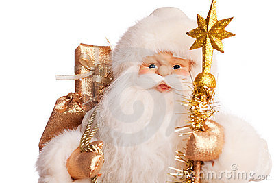 Santa with presents (on white)