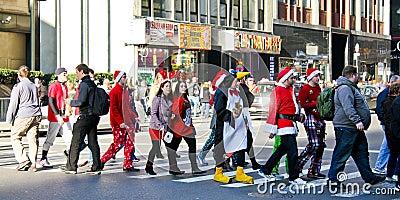 Santa Pub Crawl, Manhattan, NYC Editorial Image