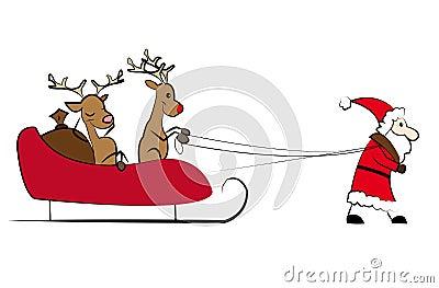 Santa pulling the Christmas sleigh