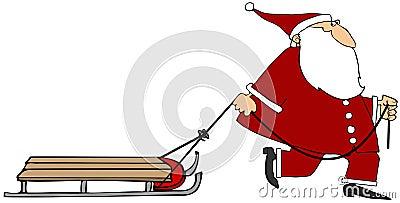 Santa pulling an empty sled