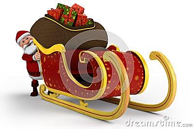 Santa pushing his sleigh