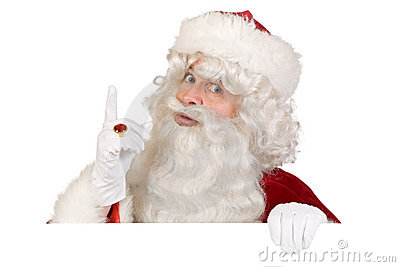 Santa putting finger up