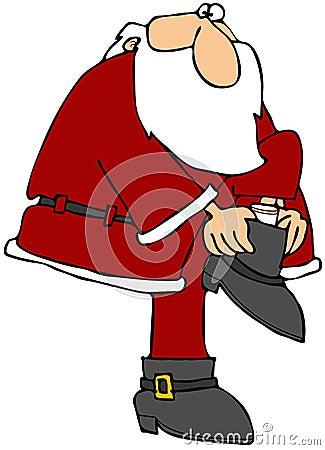Santa Putting On His Boot
