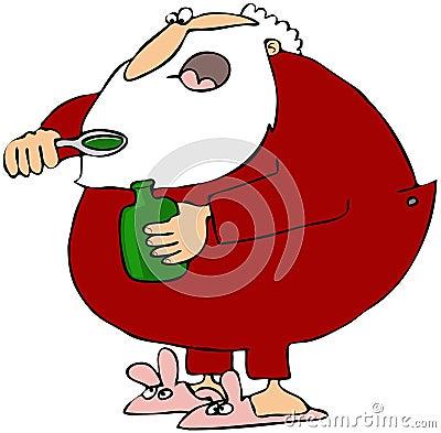 Santa que toma el jarabe de la tos