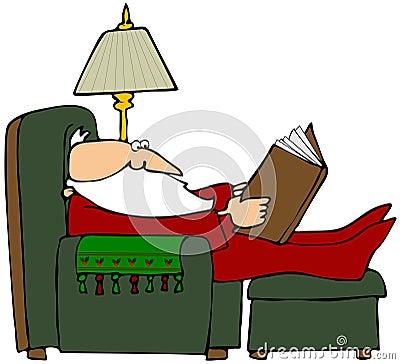 Santa Reading A Book