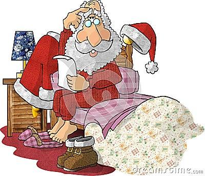 Santa Reading Gift Lists in his Pajamas