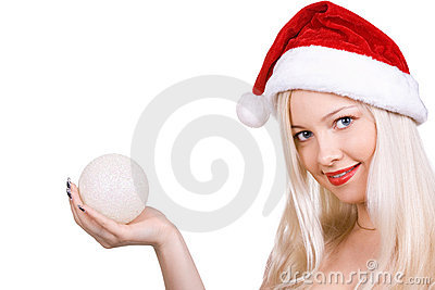Santa in a red hat with a sphere