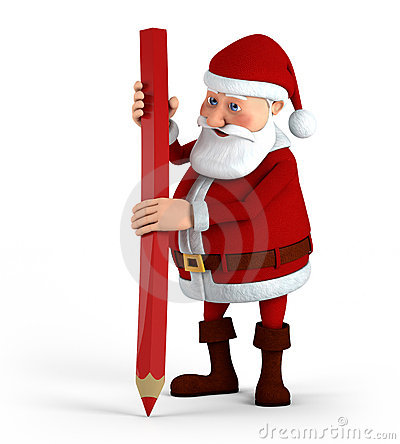 Santa with red pencil