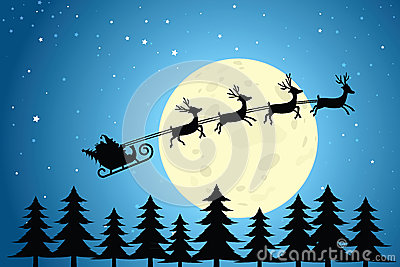 Santa and Reindeer Flying Through the Night Sky