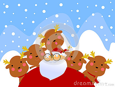Santa and reindeer having fun