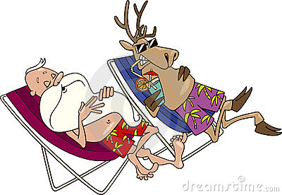Santa and reindeer having a rest