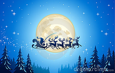 Santa and reindeer in sky