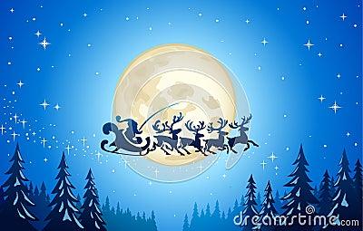 Santa and reindeer in sky