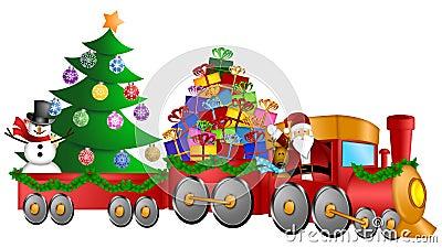 Santa Reindeer Snowman Train Gifts Christmas Tree