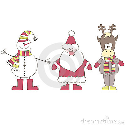 Santa, Reindeer, Snowman. Vector illustration