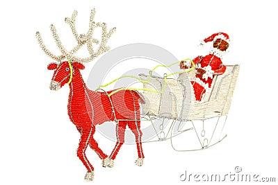 Santa & Reindeer wire and beadwork decoration