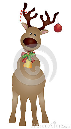 Free Santa Reindeer With Bow And Bell Illustration Royalty Free Stock Photos - 27209728