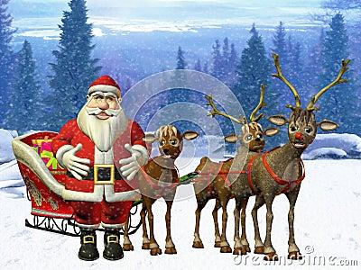 Santa with reindeers