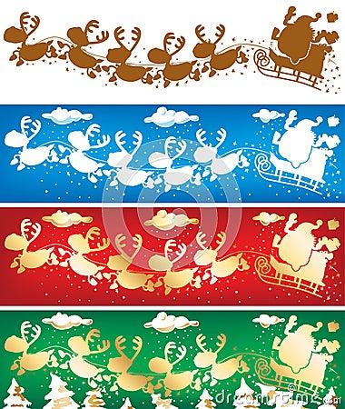 Santa and reindeers banners