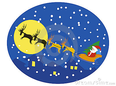 Santa and reindeers on moon