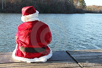 Santa Resting on the Dock