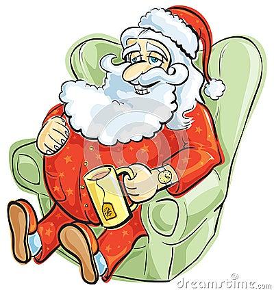 Santa resting in pajamas
