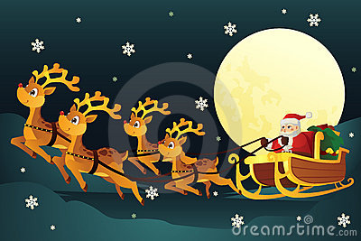 Santa riding sleigh with reindeers