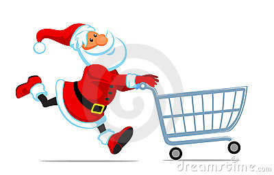 Santa run with shopping cart