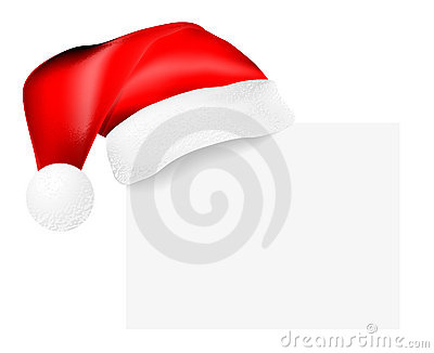 Santa s cap hanging on a blank card