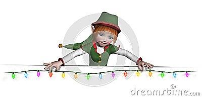 Santa s Elf is Hanging Christmas Lights
