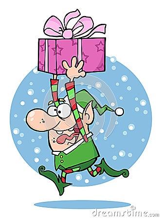 Santa s elf runs with gift