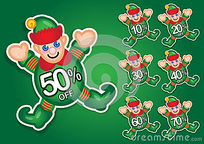 Santa s Elf vector discount stickers