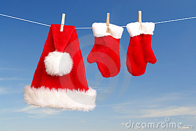 Santa's Hat And Gloves Drying Stock Photography - Image: 3539142