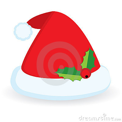 Santa s hat with holly berry