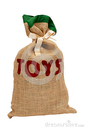 Santa s hessian sack full of toys and tied with satin ribbon