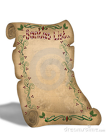 Santa's List On Old Parchment Scroll Royalty Free Stock Photography ...