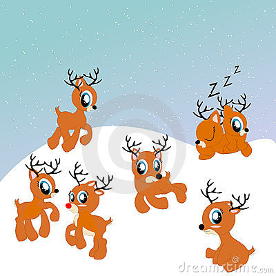 Santa s reindeer cute illustration