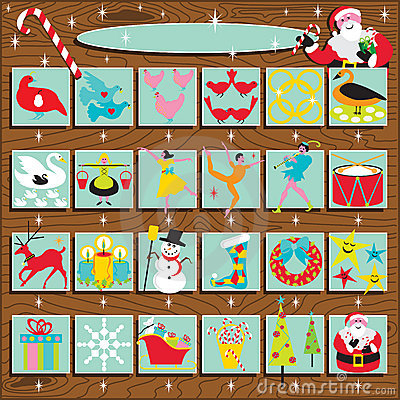 Free Santa S Retro Advent Calendar Royalty Free Stock Images - 16678829