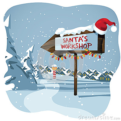 Free Santa S Workshop Sign At The North Pole Royalty Free Stock Photo - 46801305