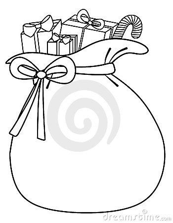 An illustration featuring a black and white outline of Santa's sack of ...