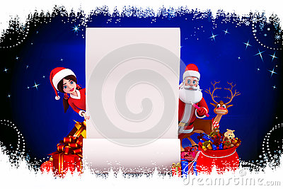 Santa and santa girl with sign on blue background