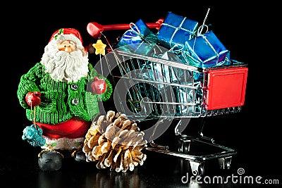 Santa and shopping cart